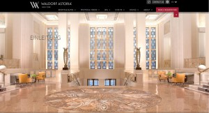 Screenshot der Waldorf Astoria Webseite.