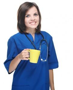 Krankenschwester mit Kaffee